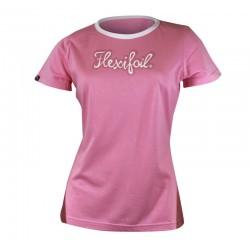Camiseta-'Mistral' Tee - Crew Neck - Pink & White