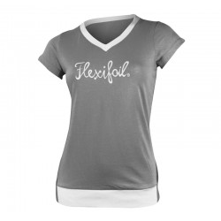 Camiseta-'Mistral' Tee - V Neck - Grey & White