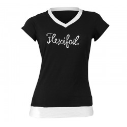 Camiseta-'Mistral' Tee - V Neck - Black & White