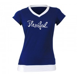 Camiseta-'Mistral' Tee - V Neck - Blue & White